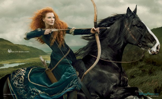 Jessica Chastain as Merida. Photo by Annie Leibovitz. @Disney