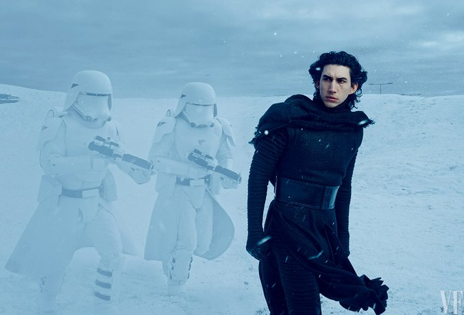 Kylo Ren (Adam Driver) commands snowtroopers loyal to the evil First Order on the frozen plains of their secret base. Photograph by Annie Leibovitz.