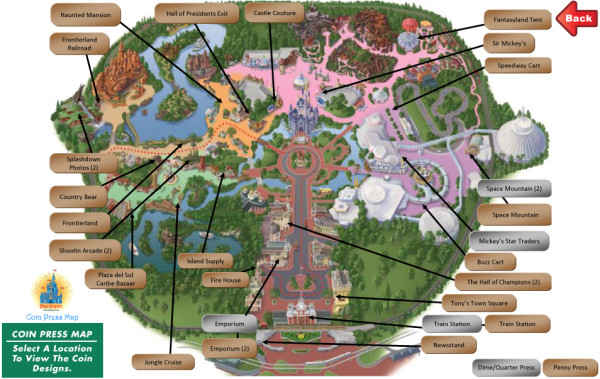 Magic Kingdom pressed coin map ©Create the Memories